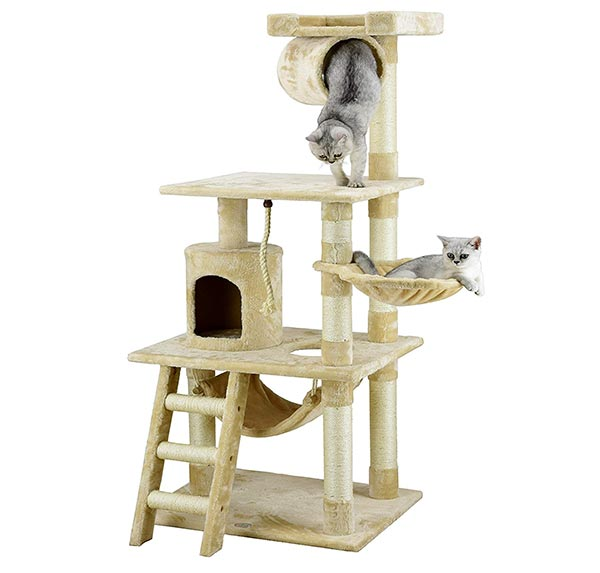 Go Pet Club 62 Cat Tree Condo Furniture Beige Color